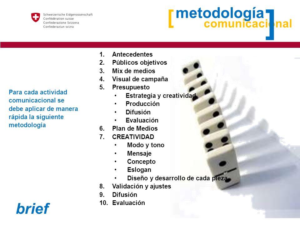 ] [ metodología brief comunicacional Antecedentes Públicos objetivos